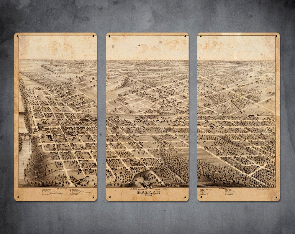 vintage map of dallas metal triptych 36x24 free shipping