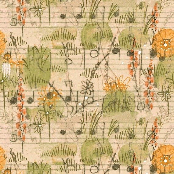 Dancing Meadow in Orange from Beauty is You by Cori Dantini for Blend -Half Yard