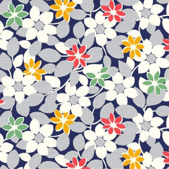 Flower Vines on Blue from the Everything but the Kitchen Sink Collection - Half Yard