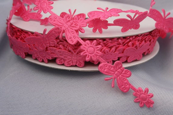 "Butterfly and Flower Ribbon Trim - Hot Pink - 5/8 "" - 3 Yards"