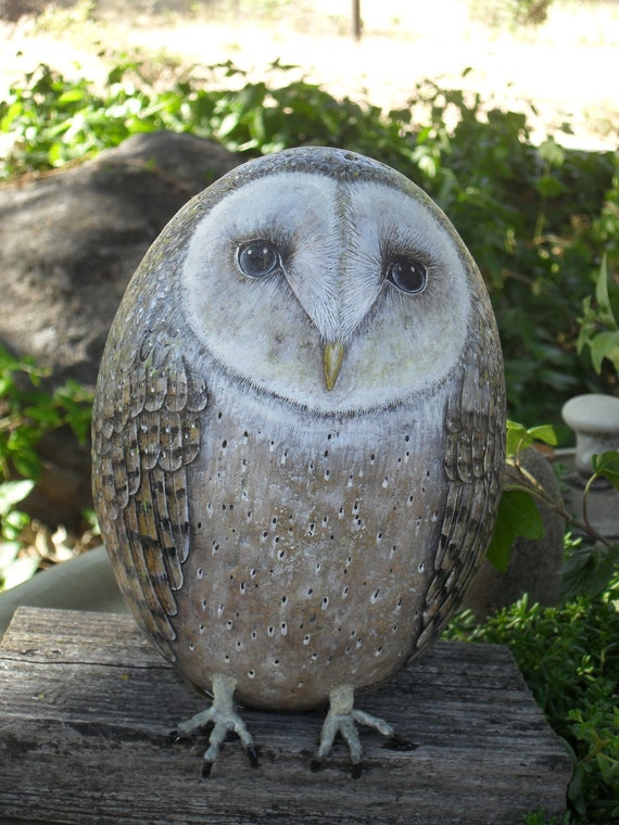 Old Barn Owl Rock Waiting OOAK Hand Painted Rock Sculpture