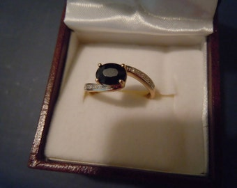 Price Reduced- Vintage English Hallmarked gold ring with sapphire and diamonds