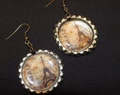 Vintage Paris Bottle Cap Dangle Earrings