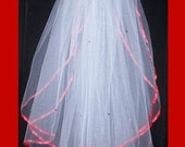 white 2 tier bridal veil with red ribbon edge and red crystals Ready to wear with comb attached.