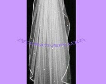 SHEER ELEGANT VEIL. 1 tier  ivory Fingertip  length . rhinestone accent.  Ready to wear with comb attached.