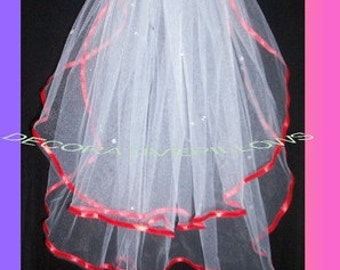 RED ribbon and red crystals  flower girl veil. Ready to wear with comb attached.