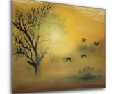 Original Oil Painting Landscape Painting Birds and Tree Art on Canvas 16 x 20 by Harshita