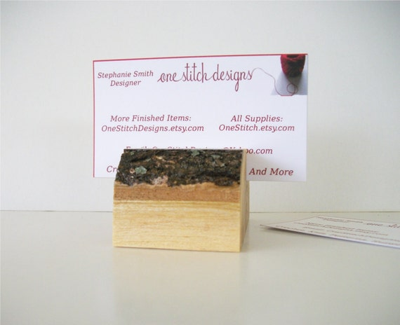 Seconds Rustic Wood Business Card Holder Flat Topped Natural Tree Branch Ready to Ship