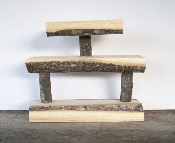 Rustic Wood Knick Knack Shelf Miniatures Display Natural Tree Branch Log Home Decor