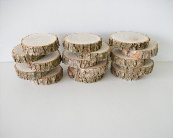 15 Sassafras Wood Slices Rustic Tree Branch For Weddings, Craft Projects, Home Decor, Etc.