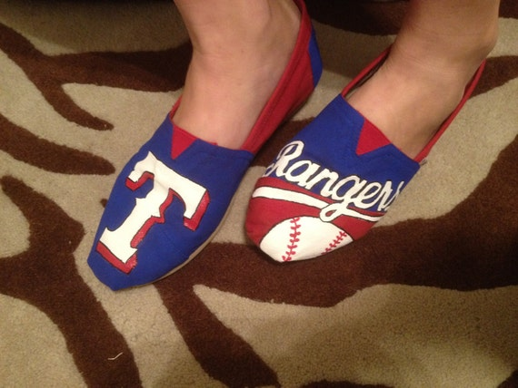 Texas Rangers Custom Order Paint Job for TOMS Shoes