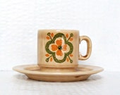 Seventies Italian Espresso Cup and Saucer Mod Pagnossin Demitasse Earthenware Coffee Mug