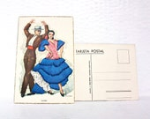 Spanish Embroidered Postcards Tarjeta Flamenco Dancer Vintage Vacation Souvenir Holiday Kitsch