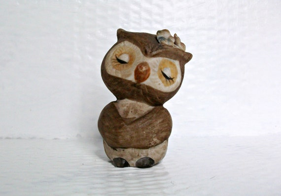 Vintage Owl Ceramic Ornament Cute Bird Figurine Woodland Kitsch Earth Tones Rustic Brown