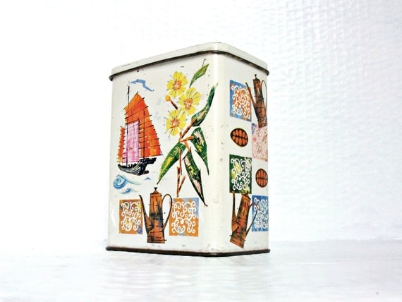 Mid Century Modern Metal Tin Tea Caddy Boats and Flowers Retro Fifties