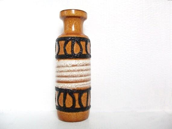 West German Pottery Vase Fat Lava Vintage Scheurich Keramik Retro Autumn Home Decor