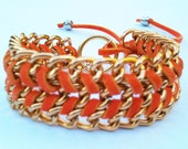 Leather And Gold Chain Wrap Bracelet In Pastel Orange, Gold Plaited Chain