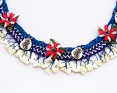 Turkish Needle Lace Necklace - With Traditional Oya and Semi Precious Stones
