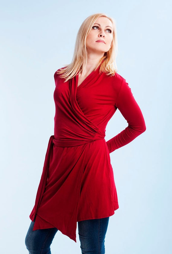 Red red wrap women tunic blouse dress