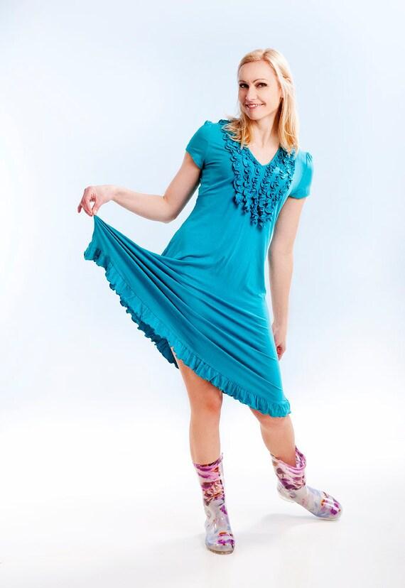 Blue summer dress short sleeves