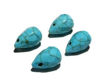 4  - 15x10mm Turquoise Briolette, Tear Drops