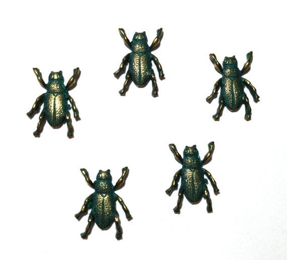 5 Bugs, Antique Brass Patina, Stampings