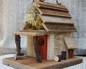Rustic  Birdhouse with Porch - Antique White bird house