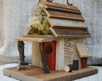 Rustic  Birdhouse with Porch - Antique White bird house