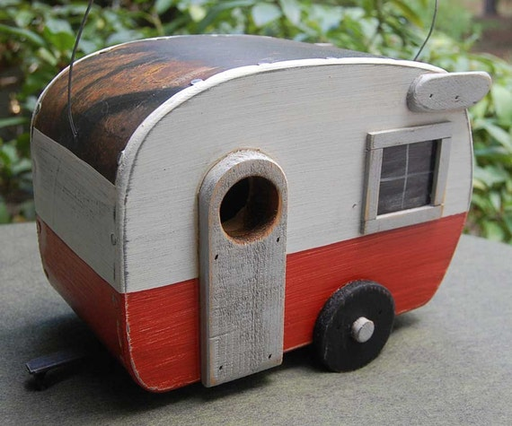 Shasta Birdhouse Trailer - Tangerine/White bird house camper