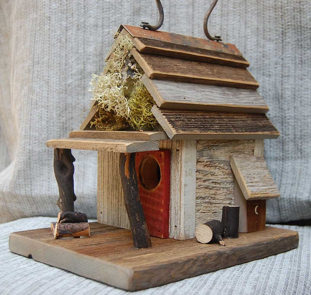 Rustic Birdhouse With Porch Antique White Bird House