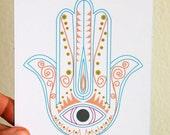 Hamsa Card, hamsa art, home decor, illustration, hamsa eye, protection, turquoise,  print illustrations, authentic, middle eastern