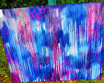 hand painted- oil painting-  28X30 inch- artwork- modern abasract- wall hanging- canvas art- paisley home decor- purple blue gray- original