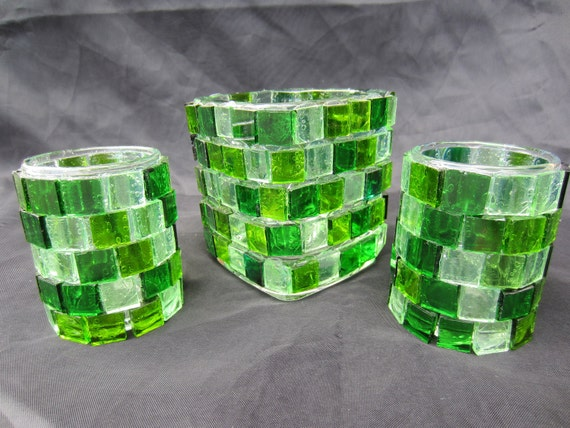 green mosaic glass candle holders 3 piece set