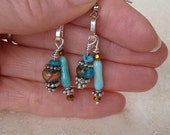 Turquoise, Jasper, Gold & Silver Dangle Earrings
