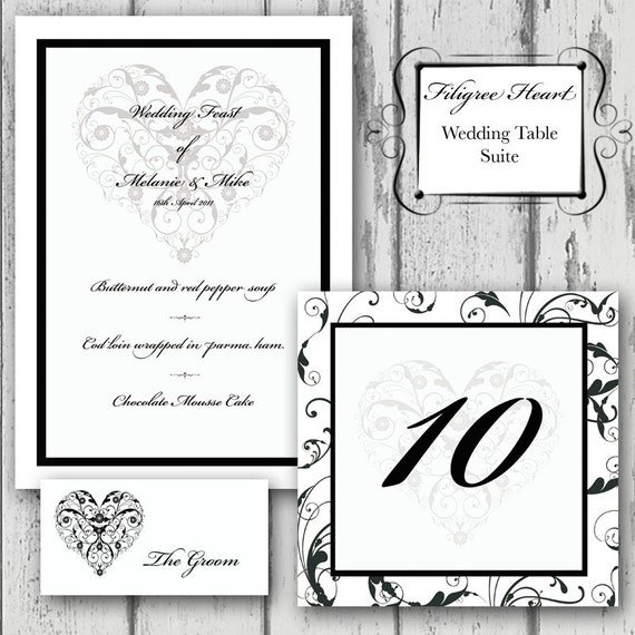 Items Similar To Filigree Heart Wedding Menu Place Card Table Number Suite