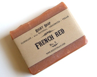 French Red Soap bar, Oily Skin Soap,  All Natural Soap, Unscented  Soap, Handmade soap, Christmas stocking, Christmas gifts