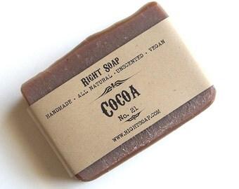Cocoa Soap -  Moisturizing Natural Soap, Handmade soap, Dry skin Soap