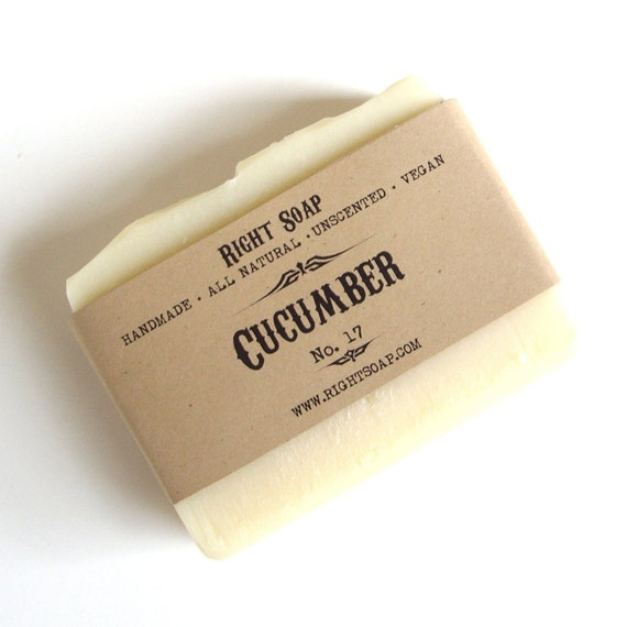 Cucumber Soap Bar, Natural Soap, Unscented Soap, Handmade Soap, Cold Process Soap, Christmas stocking, Christmas gifts, Stocking stuffers