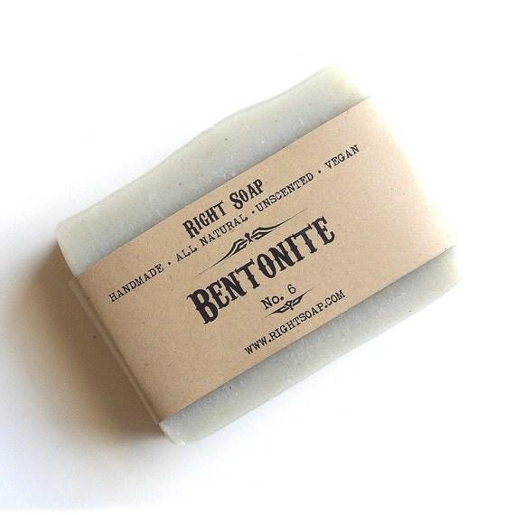 Bentonite Soap, Oily skin soap, All Natural Soap, Unscented Soap, Vegan Soap, Cold process soap, handmade soap