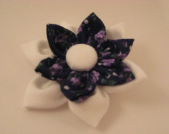 Navy, Violet and white Flower Barrette