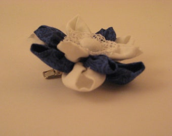 White and Blue Flower Barrette