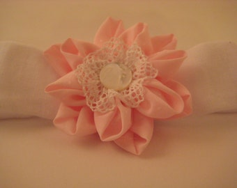 Soft Pink and White Baby Girl Hairband