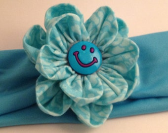 Cyan blue Happy Face Hairband