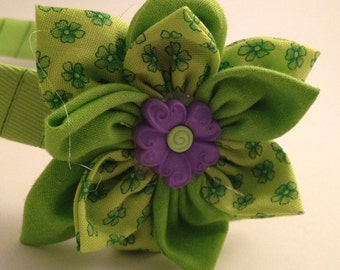 Lime Green and Purple flower Hairband