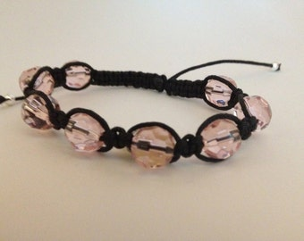 Black and Pink Bracelet with Mother of Pearl heart Charm