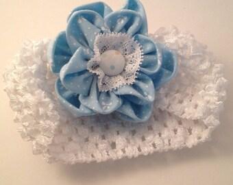 Blue and White waffle Hairband