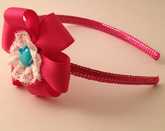 Fushia Ribbon Hairband