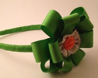 Green and Orange Ribbon Hairband
