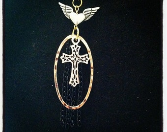 Mixed Chain With Cross On Winged Heart Pendant
