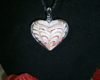 Romantic Lampwork Glass Heart Pendant Necklace